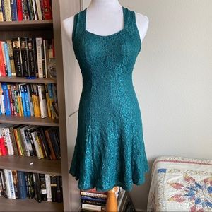 Vintage 90's emerald green lace dress